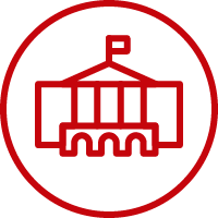 Line art image of Bascom Hall in a circle