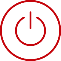 Line art image of a power button