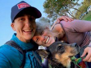 Megan O'Rourke, her partner, Vanessa, and dog, Charlie
